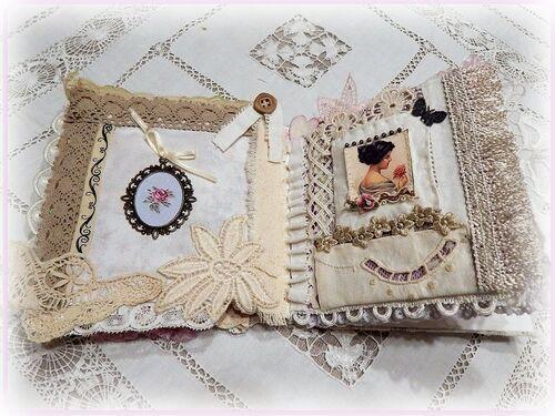 mini album fabric and lace