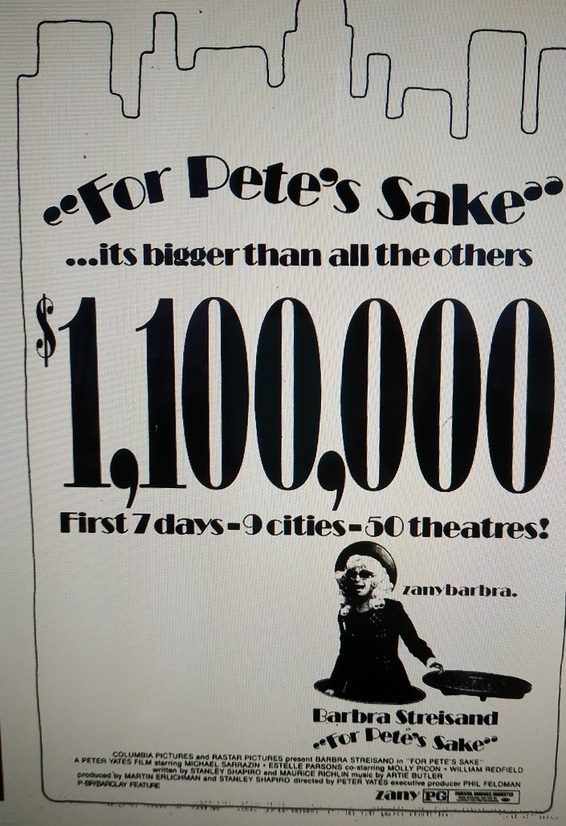 FOR PETE'S SAKE BOX OFFICE USA 1974