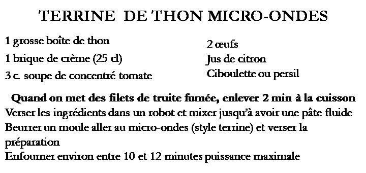 Terrine de thon au micro-ondes