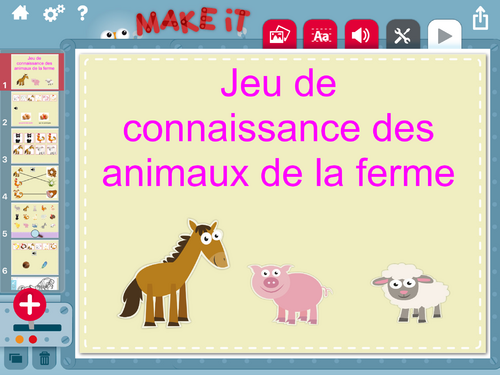 Exercices de connaissance sur les animaux de la ferme