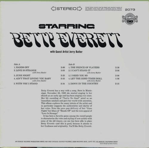"Betty Everett : Album "" Starring Betty Everett "" Tradition Everest Records TR 2073 [ US ]"