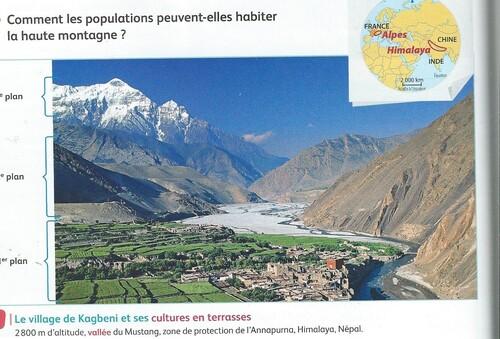 Photographie d'un village au Népal   (étudié en cours)