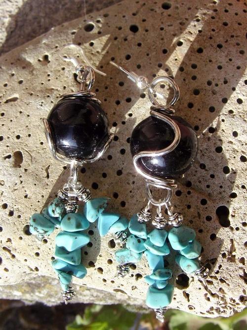 Boucles d'oreilles en pierres semi-naturelles