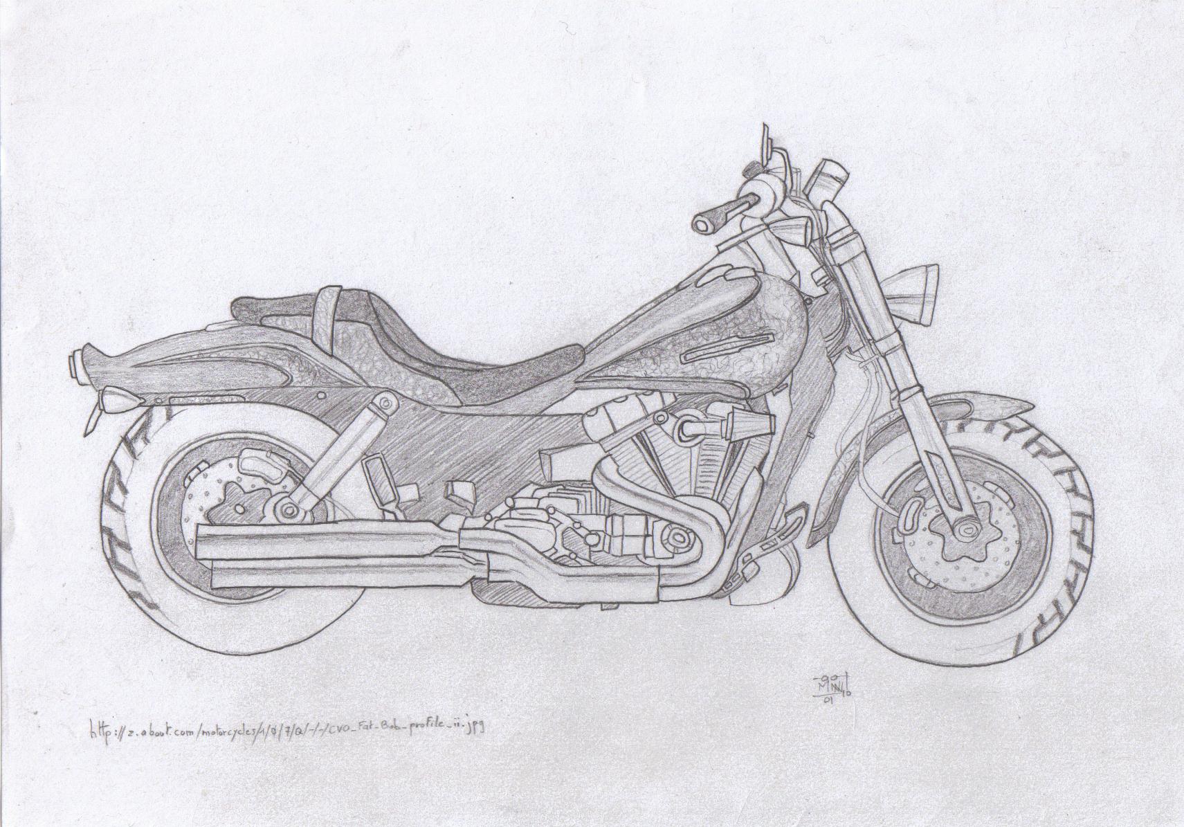 """Dessin Moto Custom thème #6 [pierre] - """"moto, partie de moto ou objet se rapportant à"""