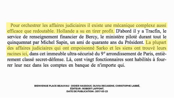 """Extrait du livre """" Bienvenue Place Beauvau """", évoqué par Francois Fillon lors de l'Emission Politique"""