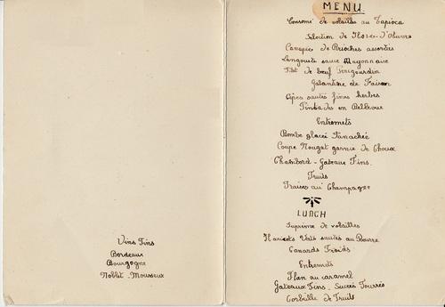 HOTEL DURAND : les menus