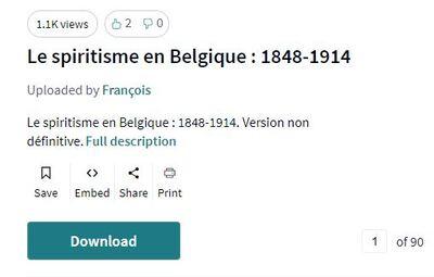Le spiritisme en Belgique : 1848-1914