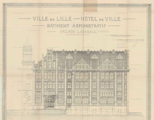 Lille - Hôtel de Ville - Lot n°2 - Exécution du gros œuvre, plans des façades et coupes (archives.lille.fr)