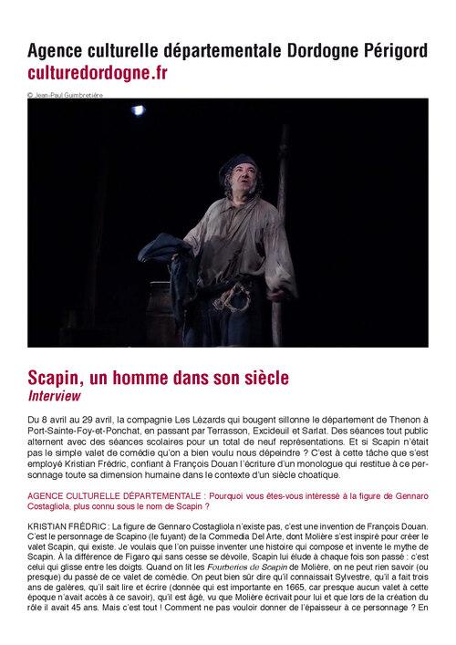 Interview de kristian Frédric sur le site de l'Agence Culturelle Départementale Dordogne Perigord
