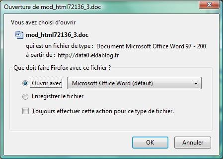 Enregistrer ouvrir le document