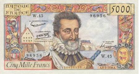 LE BILLET 5000 FRANCS HENRI IV