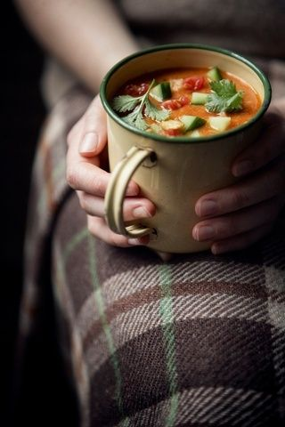 A home made cup of soup, a wool blanket to keep you warm and the fall evening is sorted!
