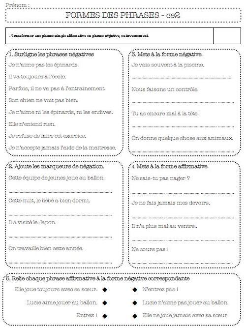 Bien connu grammaire-évaluation la forme de la phrase ce2 - La Classe de Bertaga NW32