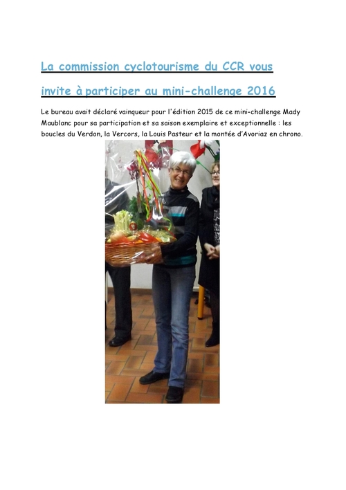 Lancement mini challenge 2016