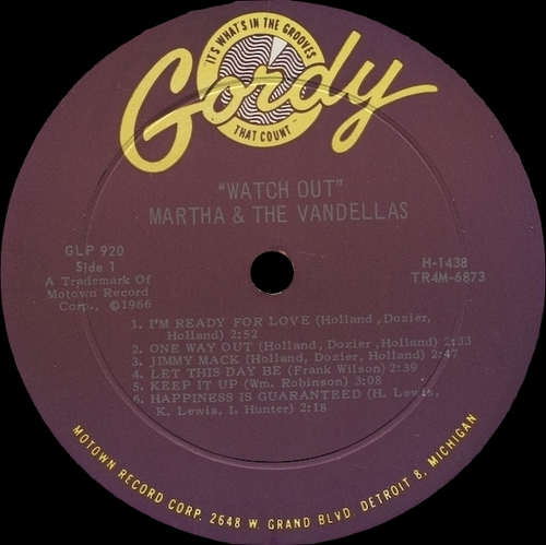"Martha & The Vandellas : Album "" Watchout ! "" Gordy Records S-920 [ US ]"