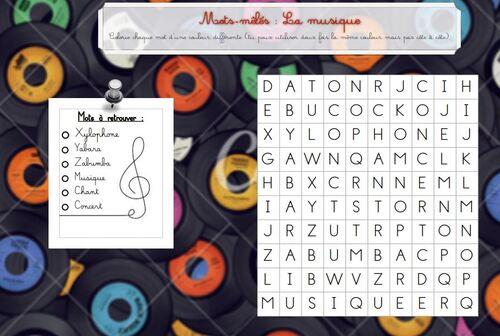 """Mots mêlés """"musique"""""""