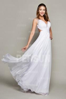 Longue robe de cocktail avec bretelles croisées