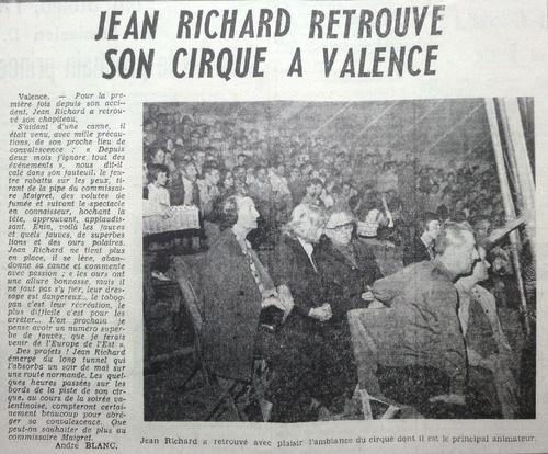 article émouvant sur la 1ère sortie de Jean Richard après son terrible accident