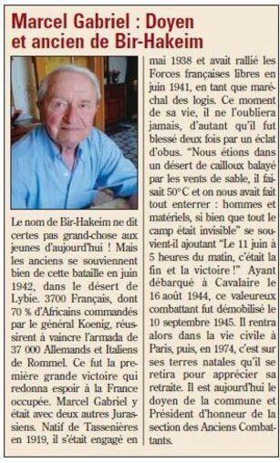 *Marcel GABRIEL s'est éteint ce 3 octobre 2014 à Tassenières