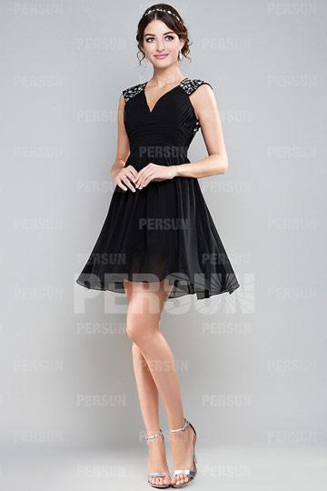 robe de soirée noire courte dos découpé pour mariage invité