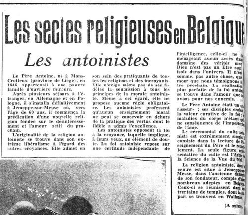Les sectes religieuses en Belgique (La Lanterne, 16 mai 1950)(Belgicapress)
