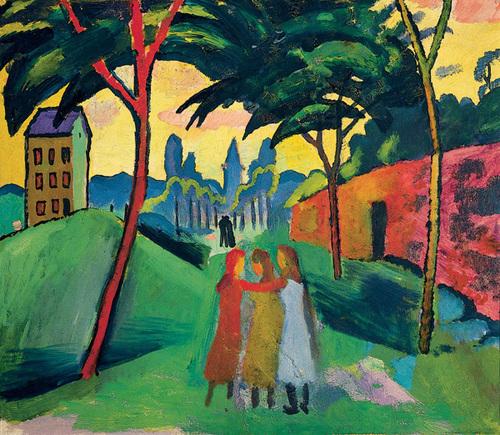 August Macke, Paysage avec trois jeunes filles, 1911. 55 cm sur 63,5 cm, Von Der Heydt Museum Wuppertal.