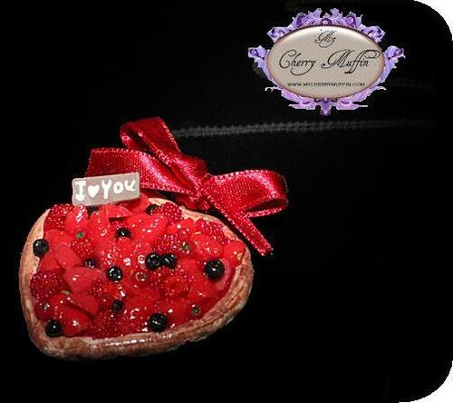 Collier tarte fruits rouges My Cherry Muffin