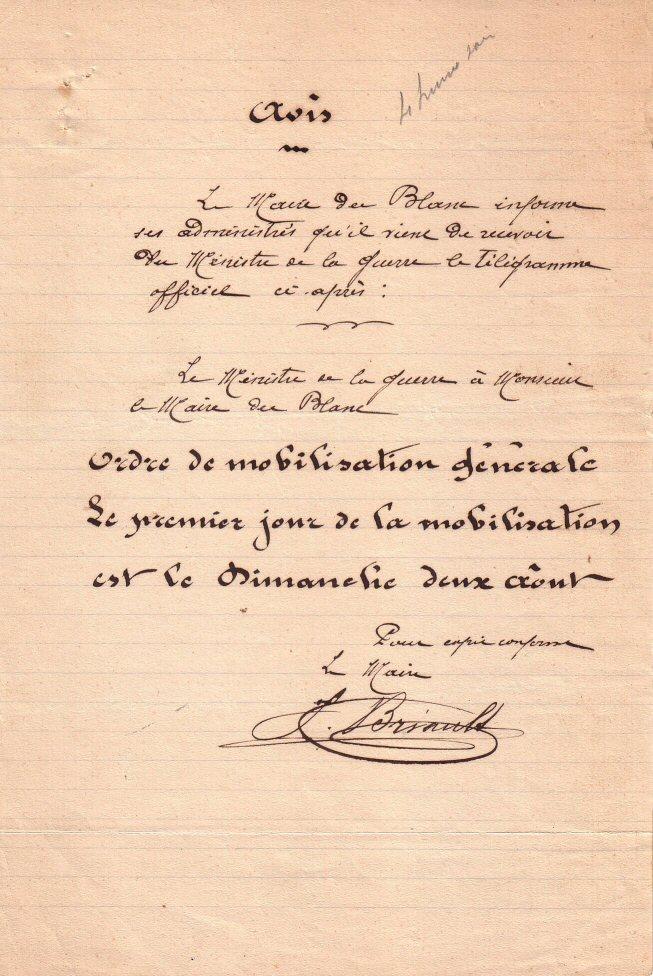 Orde de mobilisation, avis 1/8/1914