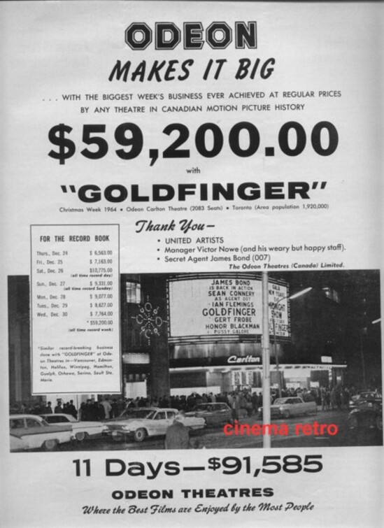 GOLDFINGER - JAMES BOND BOX OFFICE 1965