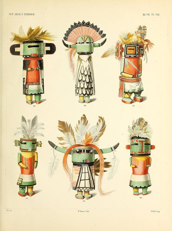 Plate VIII from 'Dolls of the Tusayan Indians' by Jesse Walter Fewkes, published Leiden , 1894
