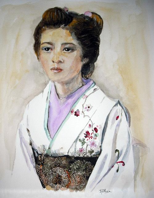 Jeune femme au kimono blanc