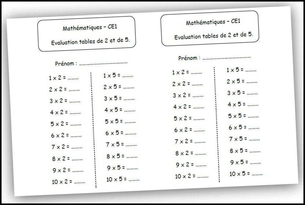 Search results for table de multiplication remplir for Table de multiplication de 2 a 5