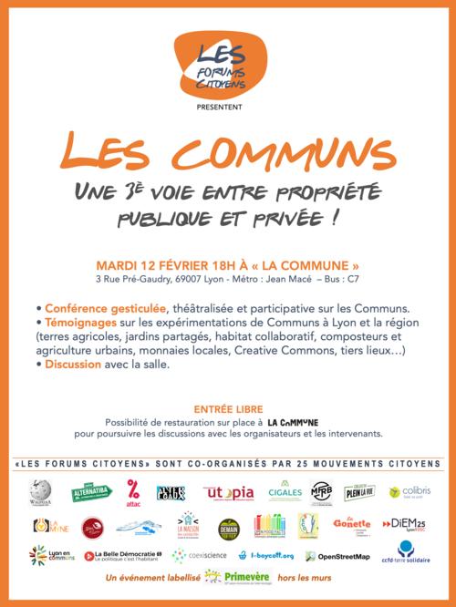 """Invitation 12 février """"Les communs"""""""