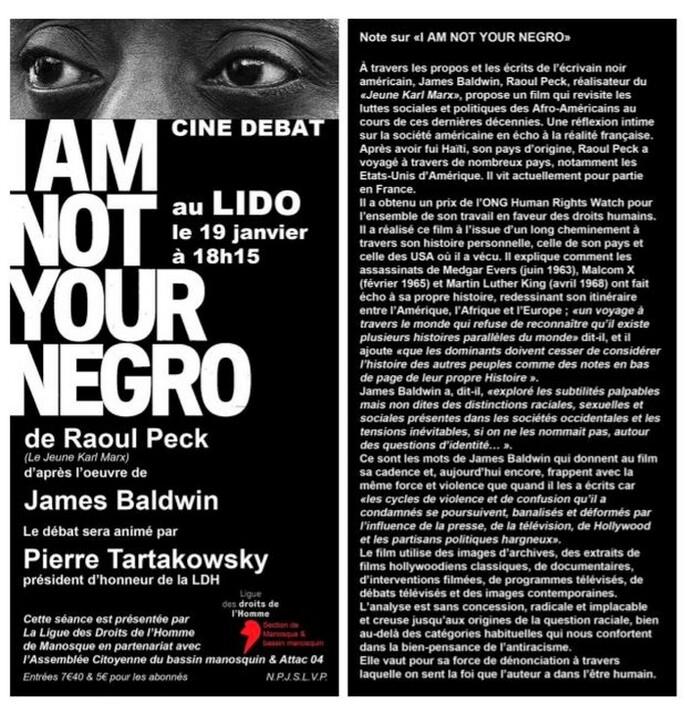 """""""I AM NOT YOUR NEGRO"""" au LIDO  Manosque le 19 janvier à 18h15"""