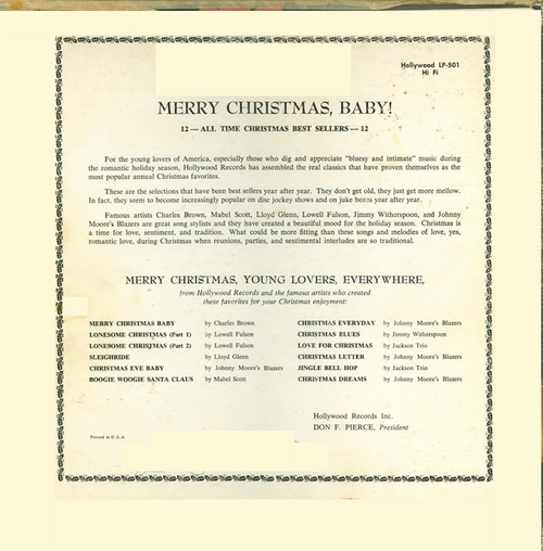 "Various Artists : Album "" Merry Christmas Baby "" Hollywood Records LP-501 [ US] en 1956"