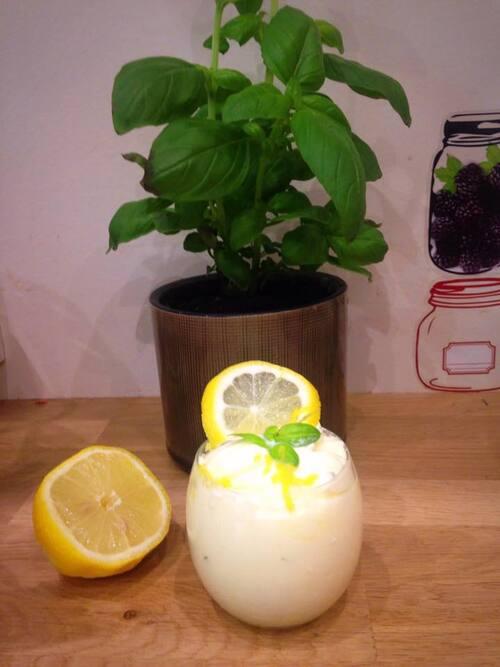 Mousse mascarpone au citron et basilic