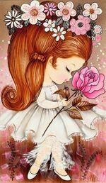 705 - fille et rose ' signature, blinkie, fleurs