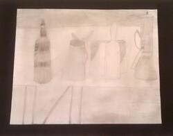 Nature morte de Morandi revisitée en noir et blanc