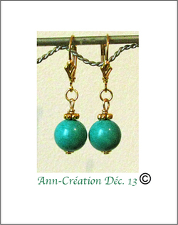 Boucles Dormeuses Turquoise 10mm- Plaqué Or Gold Filled