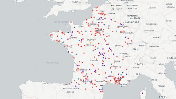 La carte des communes françaises volontaires pour accueillir des réfugiés.