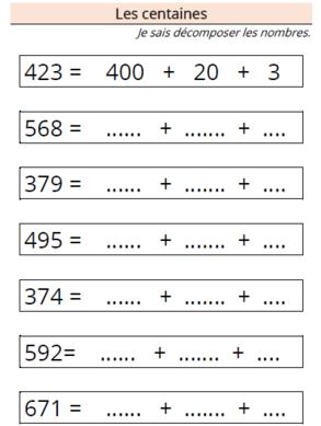 Décomposer les nombres - Les centaines