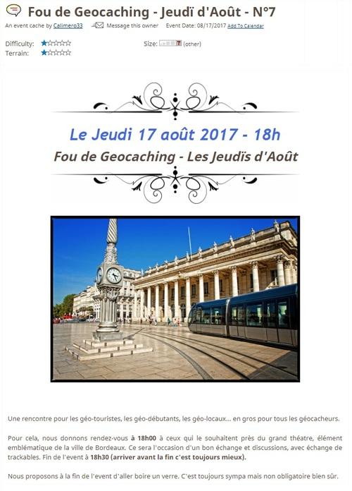 17 août 2017 - Fou de Geocaching - Jeudï d'Août - N°7