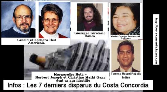 derniers disparus du costa concordia