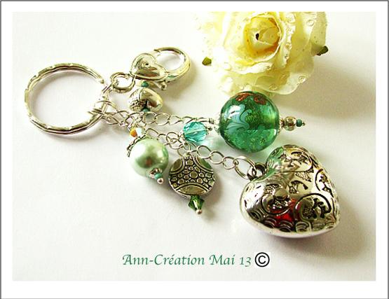 Bijou de Sac Coeur, Verre Lampwork Vert d'Eau & Cristal Argent / Silver Heart Bag jewel