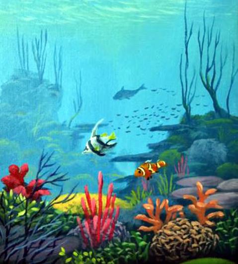 Dessin et peinture - vidéo 2085 : Un paysage sous-marin peuplé de coraux et de poissons éxotiques - acrylique.