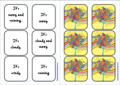 Anglais : jeu de mémory sur la météo : weather game.