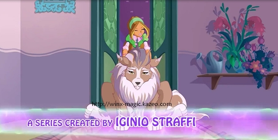 Flora et son chien à Alfea