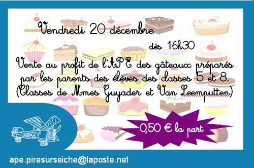 - Vente de gâteaux le 20/12/2013