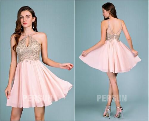 robe rose courte pour mariage haut appliqué de dentelle & perles