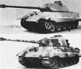 Le Tigre II - Modèle Porsche en haut et Henschel en bas
